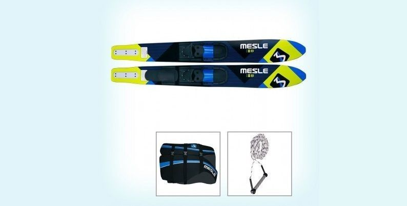 Sets of skis with a rope, bindings, a life jacket