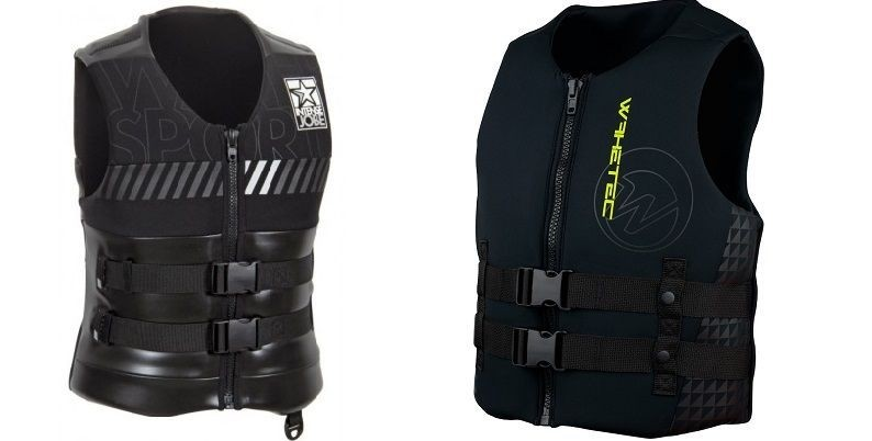 Men's safety vests help to stay on the water