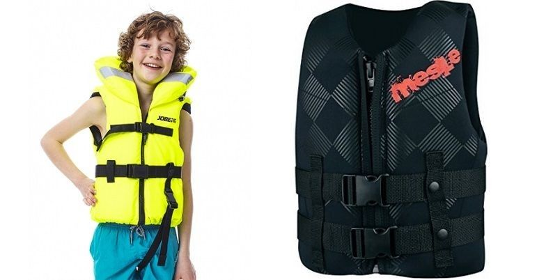 Children's safety vests help to stay on the water